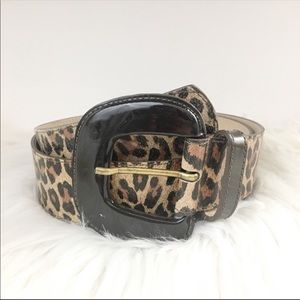 Cache leopard animal print leather belt size large